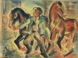 Koně, 1925. Antonín Václav Slavíček (1895–1938)   Kresba tuší, akvarel na papíře, 180x235