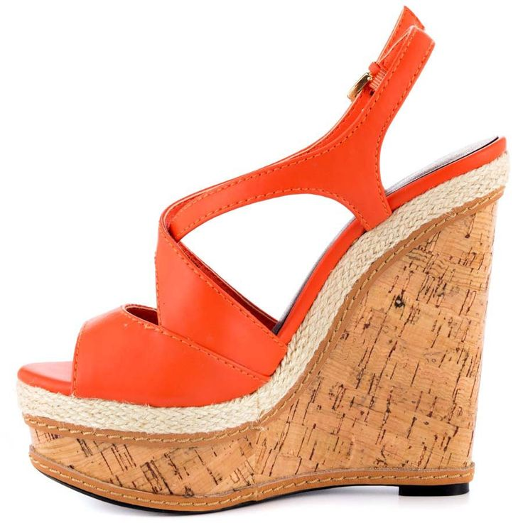 89.00$  Watch here - http://alin8a.worldwells.pw/go.php?t=32358467803 - Orange PU Wedges Women Sandals Criss Cross Strap Platform Wrap Heels Open Toe Ladies Shoe 2015 sapato feminino Made-to-order 89.00$