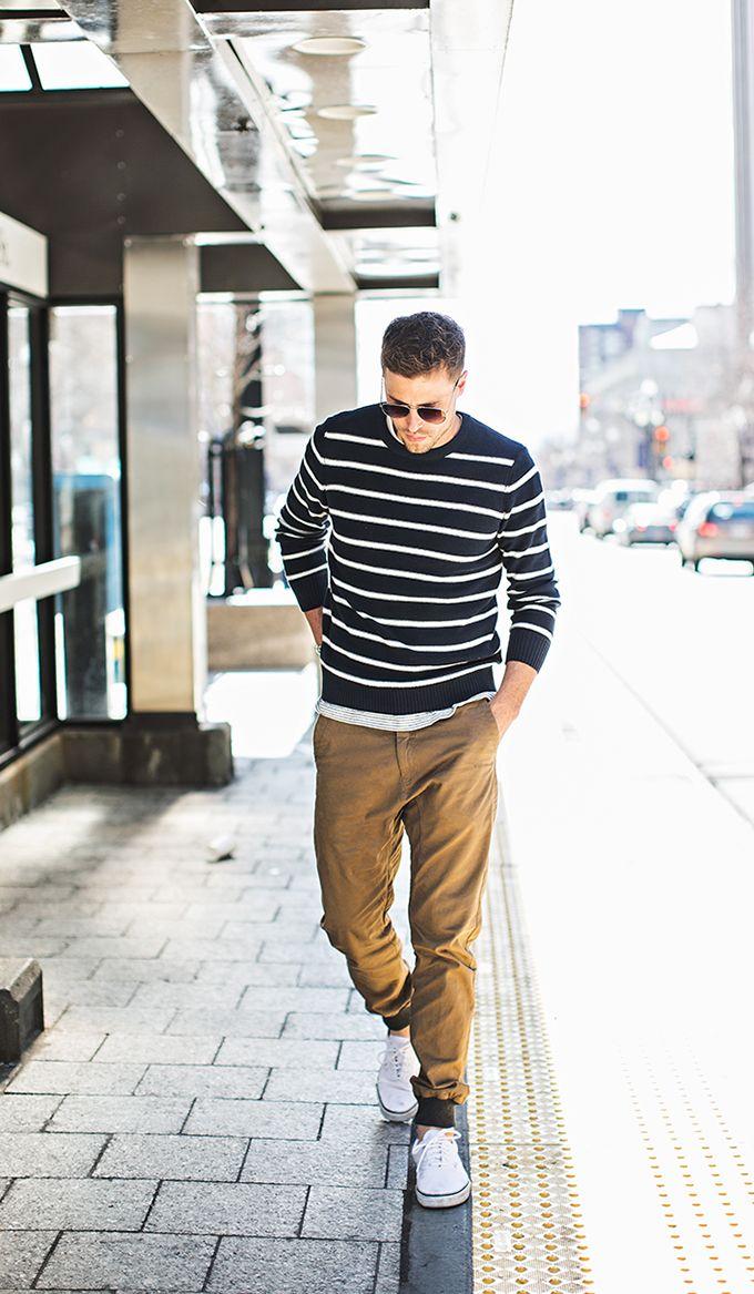 Striped Sweater | Khaki Joggers