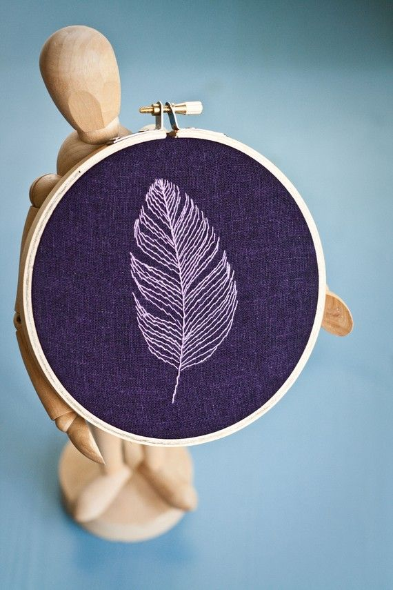 Lone Purple Feather Embroidery art wall hanging by CleverApple, $18.00
