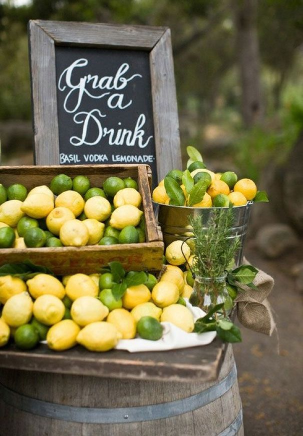 A citrus filled drink station http://www.hellomay.com.au/article/theres-an-idea-drink-stands-giveaway #stand #cocktails #wedding