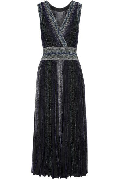 Missoni - Wrap-effect Pleated Metallic Crochet-knit Midi Dress - Black