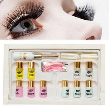 Longer Eyelashes Curling Curler Perming Wave Rod Glue Long Eyelash Lash Perm Kit Sets Eye Makeup