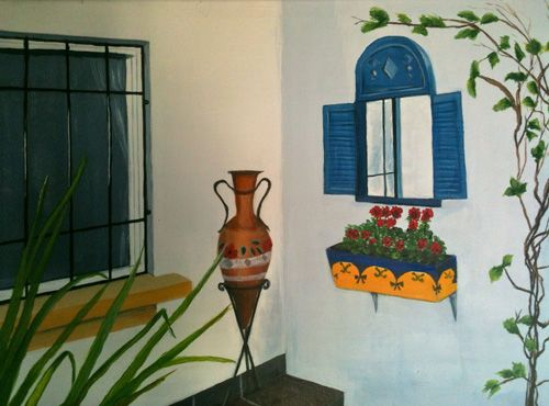 Typical view of Spanish pottery vase in this painting