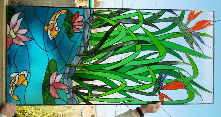 "Stained glass Panel - ""Asian Paradise"""