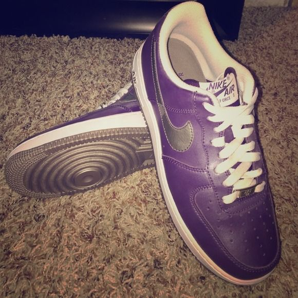 Nike Air Force ones Classic purple Nike Air Force 1 with silver metallic swoosh Nike Shoes
