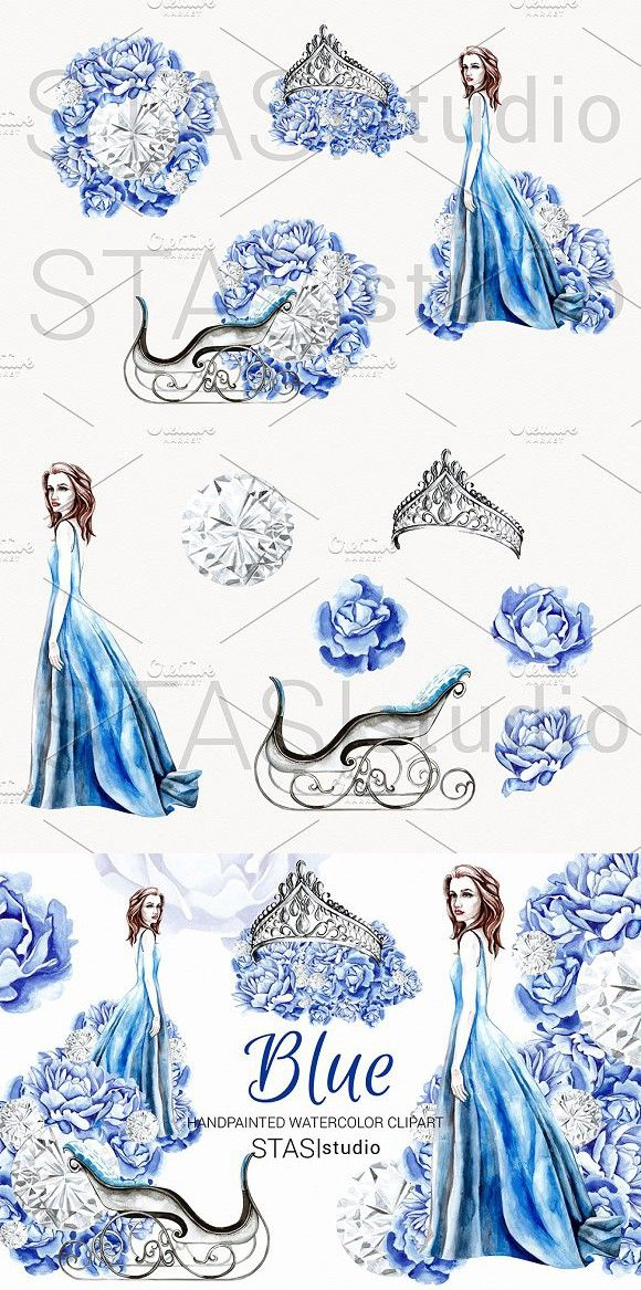 Winter Fashion Blue Clipart Fashion Illustration Watercolor