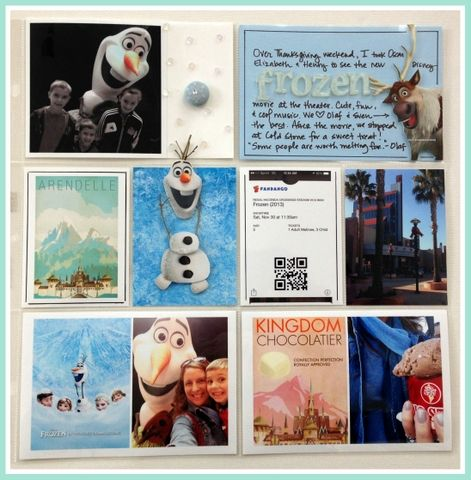 """Capturing Magic at the Movies: Disney's """"Frozen"""" Project Life scrapbook page layout idea"""