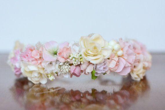 Blumen-Krone in Pink  Flowergirl Haarteil  von LittleLadyAccessory
