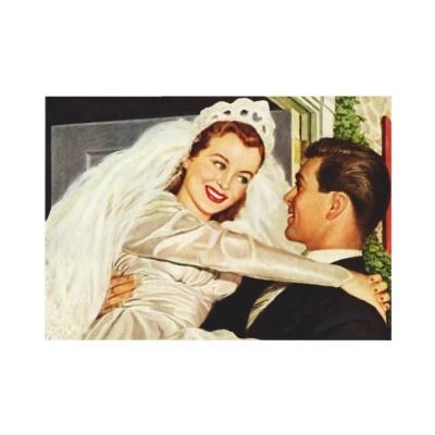 Vintage Braut und Bräutigam; Glückliche Jungvermäh Ankündigung von YesterdayCafe
