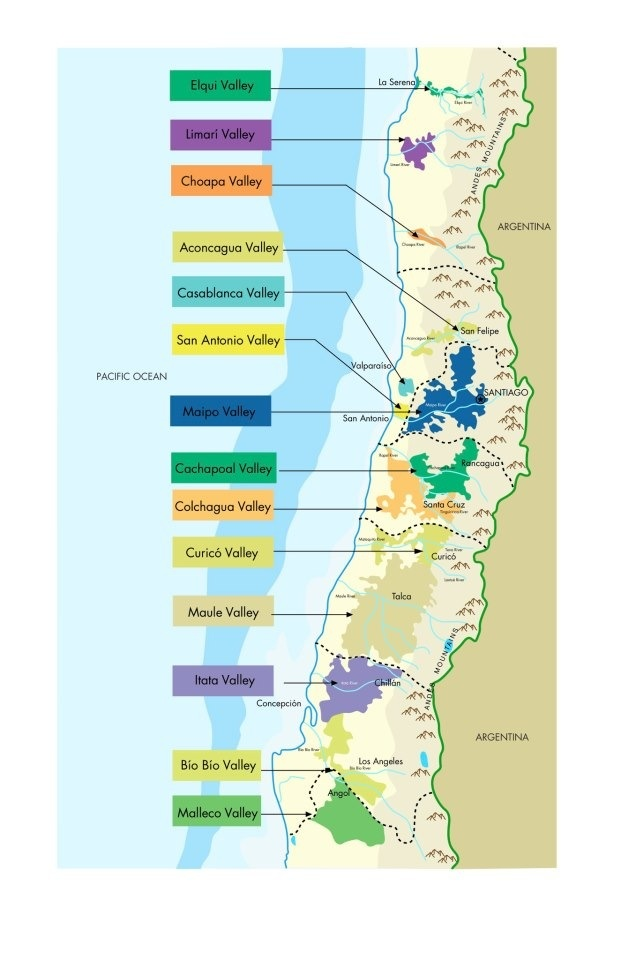 #Chile's 14 active #wine regions | Las 14 regiones activas del #vino chileno.
