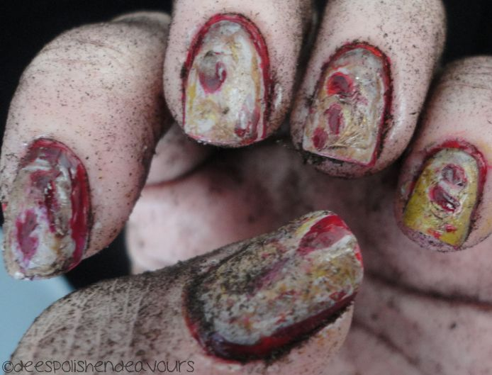 Zombie nail art. #deespolish I'm coping this for my zombie costume this year!