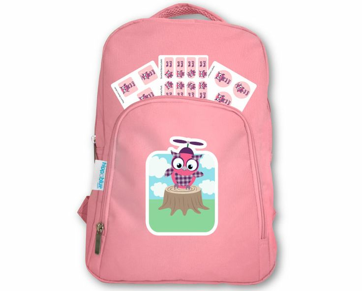 PINK BACKPACK Personalise the whole combo packs style by choosing from our huge selection of designs and customise the colour theme, choose from multiple fonts and personalise text. FREE labels come in 'matching design theme' to your lunch bag.