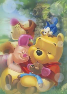 Pooh,Guru,Leitão e Tigrão dormindo bem juntinhos