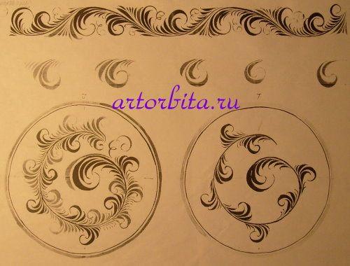 Рисунок. Травная композиция в круге - хохломская роспись