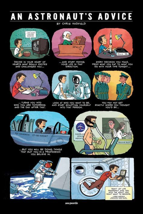 """CHRIS HADFIELD """"An Astronaut's Advice"""" quote poster"""