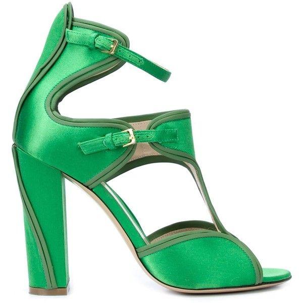 Monique Lhuillier 'Anja' sandals featuring polyvore, women's fashion, shoes, sandals, heels, scarpe, green, leather sole shoes, monique lhuillier shoes, green shoes, satin shoes and green sandals