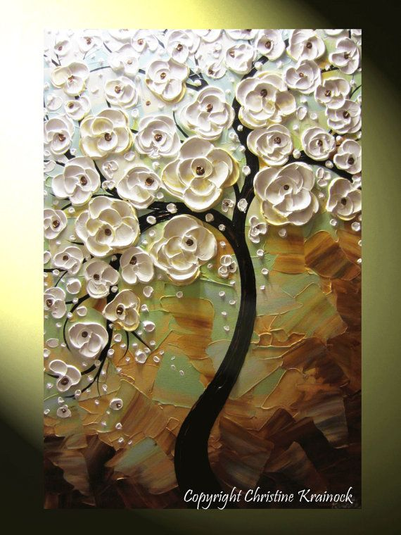 "ORIGINAL #Art Abstract #Painting White Cherry Tree Paintings Blossoming Flowers ""Delicate Lace"" Modern Textured Palette Knife Fine Art by Contemporary Artist, Christine Krainock, Wall Art, Home Decor, Holiday, by ChristineKrainock"