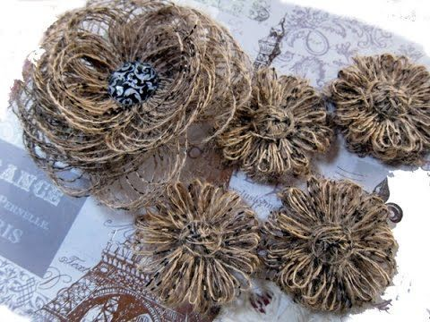 ▶ Loopy Loop Flower Tutorial using scrap burlap treads - YouTube