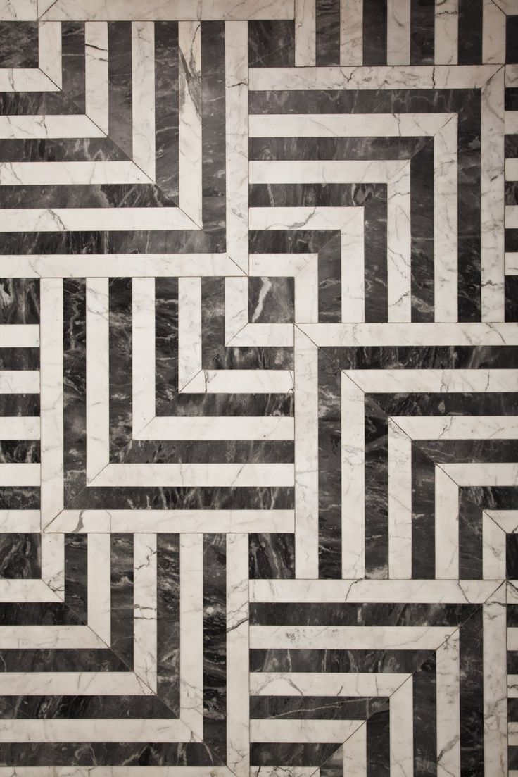 Beautiful Marble Floor By Kelly Wearstler Residential Black And White Parquet Pattern