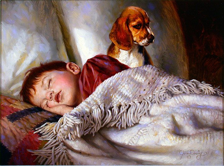 """On Guard"" by Jim Daly. I would love to have a print of this. My dad wanted a Beagle so badly when he was a little guy, and he adores my Rose. He'd love this. :) Precious."