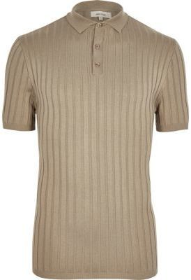 River Island Mens Stone ribbed muscle fit polo shirt
