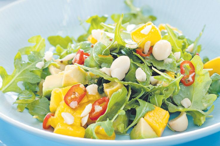 Mango, avocado and macadamia salad. This looks similar to the amazing ...
