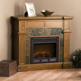 Hollandale Mission Oak Electric Fireplace | Overstock.com Shopping - Great Deals on Upton Home Indoor Fireplaces