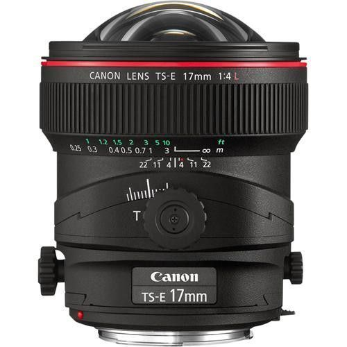 Canon TS-E 17mm f/4L Tilt-Shift The widest tilt-shift lens in Canon's lineup, the new TS-E 17mm f/4L lens expands shooting possibilities exponentially on EOS Digital cameras. Designed with UD glass to