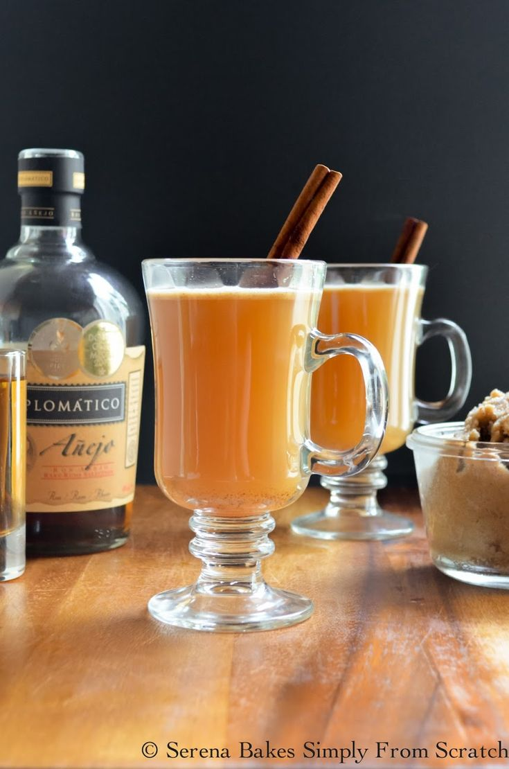 Hot Apple Cider Buttered Rum Cocktails are perfect for the holidays.