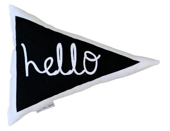 Hello triangle cushion in black by BettyandMoose on Etsy