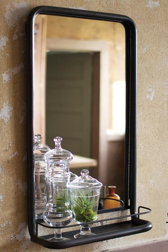 Anthropologie Vintage French Industrial Hardware Washroom Mirror