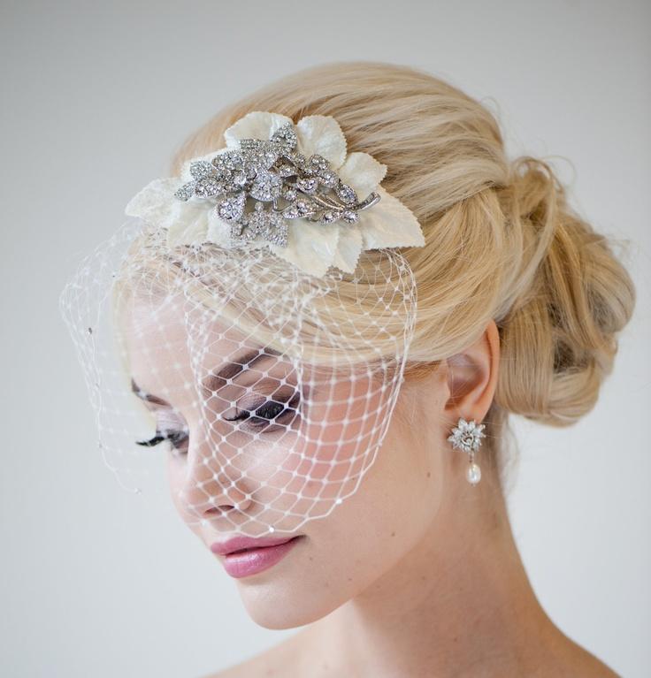 Bridal Head Piece Birdcage Veil Crystal Haircomb Fascinator