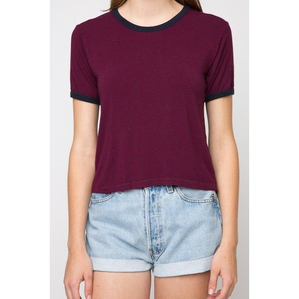 Nadine Top (5.280 HUF) found on Polyvore featuring women's fashion, tops, sleeve top, purple crop top, striped crop tops, cropped tops and purple top