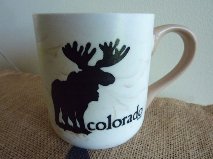 MSSI COLORADO MOOSE MUG~MARBLED WHITE/BROWN~MINT CONDITION #MSSI