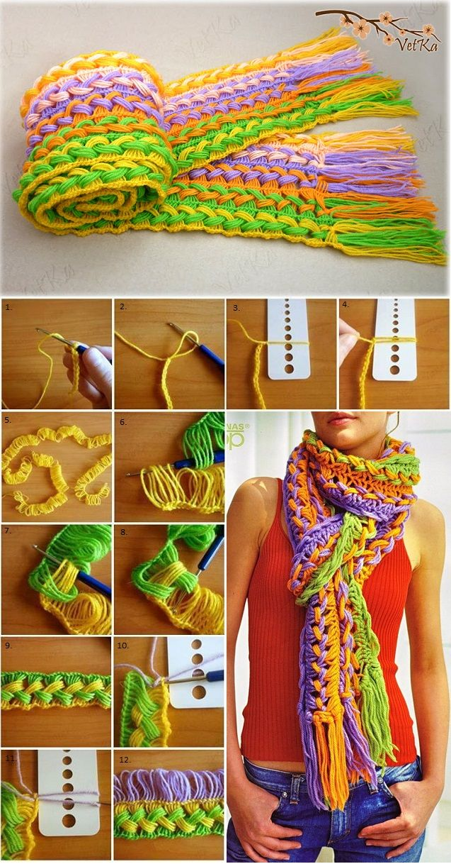 Colourful Crochet Scarf - DIY Tutorial - by All Day Chic  --  http://alldaychic.com/fashionable-knitted-scarf-diy/