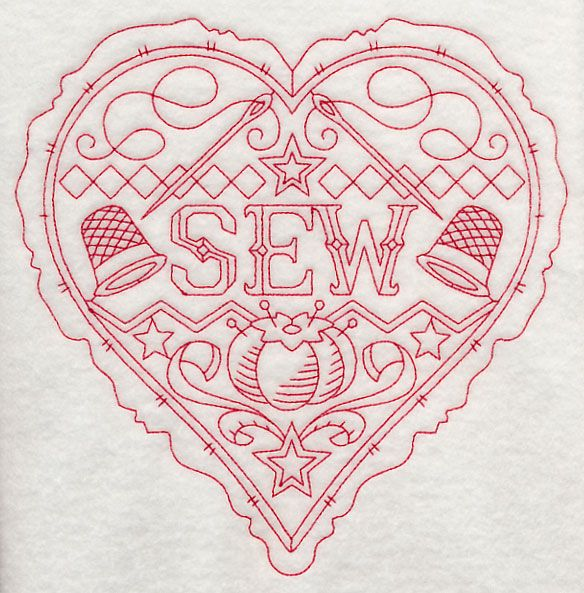 Sew Heart (Redwork)--cute patterns at this site!!!  Different words for the center...check it out!!