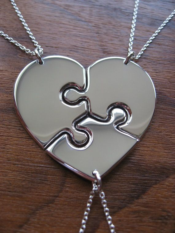 I want something like this for my girls! I love it! best sisters necklaces for 3  | Three Piece Heart, best friend puzzle heart ... | Jewelry and accesso ...
