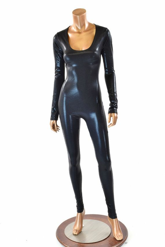 Black Shiny Metallic Long Sleeve Spandex Catsuit    151535