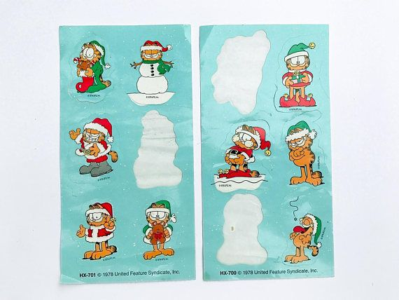 Garfield does Christmas in 1978. From United Features, a set of two sticker sheets. A couple sticker sheets with 9 stickers total. It looks like one or two of the stickers were removed and placed back and some minor evidence of aging. Otherwise in good vintage condition.  11 stickers total, each are roughly 1.75 tall.  ***** Please note items are being shipped via ground shipping with Canada Post. Tracking and insurance is not included in this standard shipping rate. If you would like to…