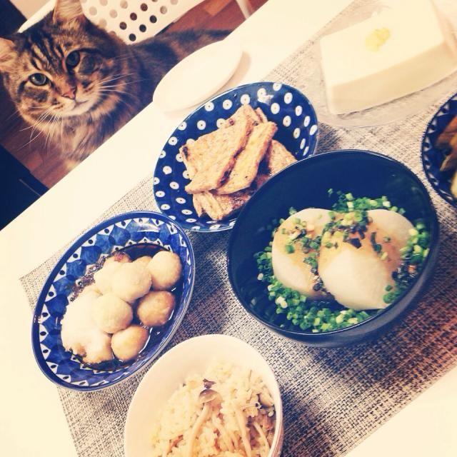 精進料理 - 15件のもぐもぐ - ねぎ味噌のふろふき大根、里芋の揚げだし、油揚げの蒲焼風、キノコご飯 by @linalina0618
