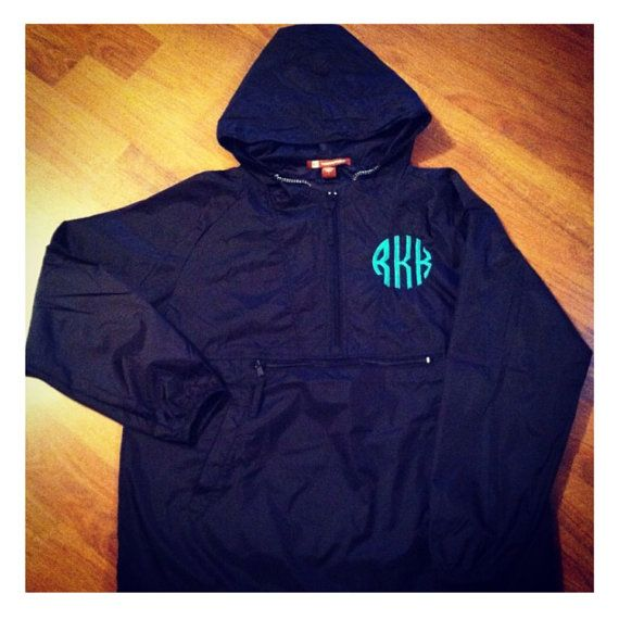 Monogrammed Rain Jacket Pullover Personalized by ElsBriarPatch, $38.00