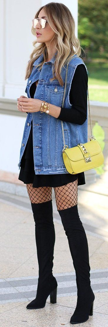 Women's fashion | Black skater dress, denim vest, fishnets and over the knee boots