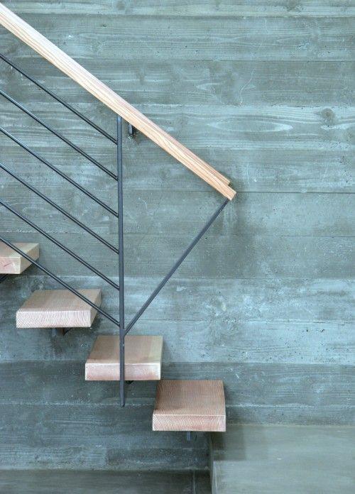 Concrete wall at stair  Feldman Architecture, Inc.