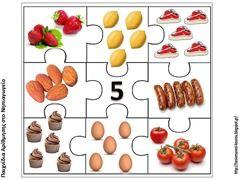 Puzzelen met hoeveelheden voedsel. De kinderen leren het aantal objecten te herkennen. Voorbereiding op het rekenen. Puzzel van het getal 5.