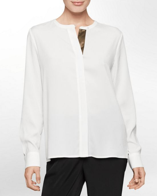 Calvin Klein White Label Metallic Trim Long Sleeve Top