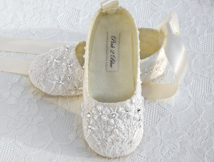 Flower Girl Lace Covered Wedding Shoes, Christening Handmade by Pink2Blue.. $60.00, via Etsy.