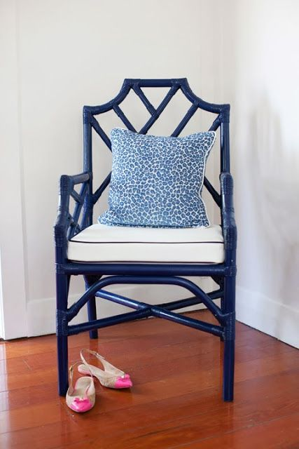 cute as a button blue and white chair with leopard pillow