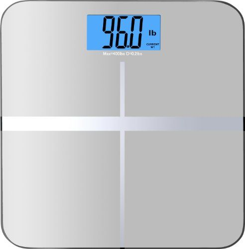 """BalanceFrom High Accuracy Premium Digital Bathroom Scale with 3.6″ Extra Large Dual Color Backlight Display and """"Smart Step-On"""" Technology [NEWEST VERSION] (Silver)"""