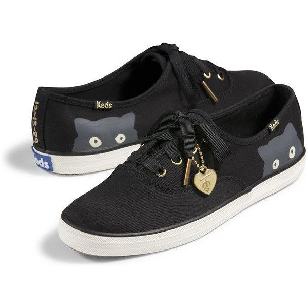 Keds Taylor Swift's Champion Sneaky Cat (76 AUD) ❤ liked on Polyvore featuring shoes, sneakers, black, cat trainer, black sneakers, black shoes, flexible shoes and cat sneakers